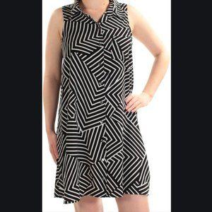 Alfani black/white geo-stripe sleeveless dress 14W
